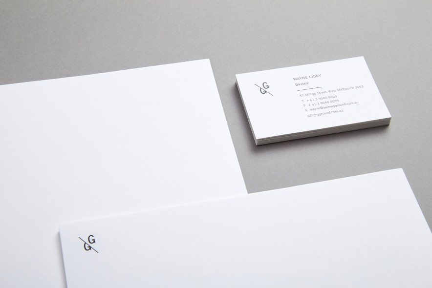 gaining ground logo stationery and website design